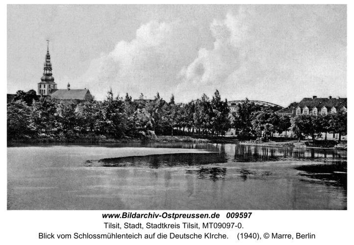 Tilsit, Blick vom Schlossmühlenteich auf die Deutsche KIrche