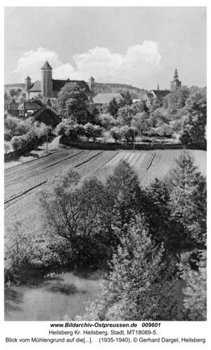 Heilsberg, Blick vom Mühlengrund auf die Stadt