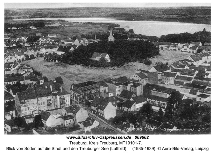 Treuburg, Blick von Süden auf die Stadt und den Treuburger See (Luftbild)