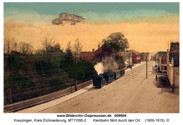 Kreuzingen, Kleinbahn fährt durch den Ort