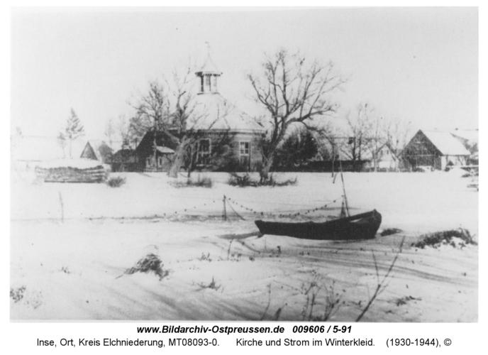 Inse, Kirche und Strom im Winterkleid