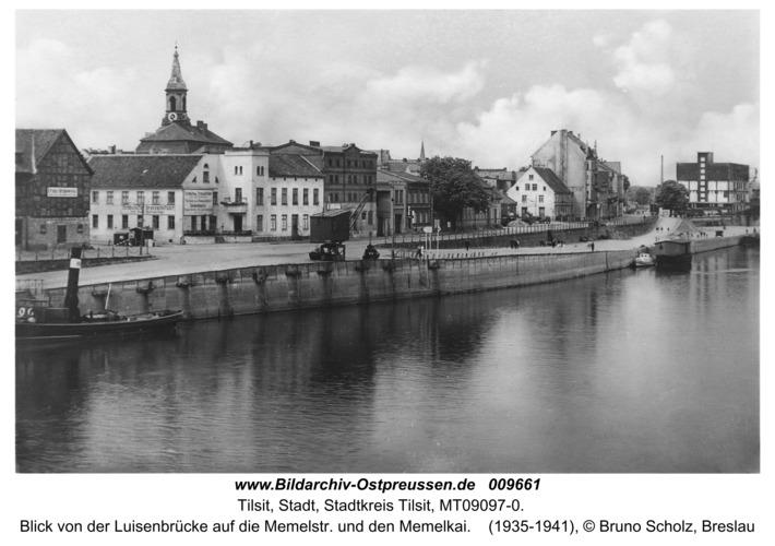 Tilsit, Blick von der Luisenbrücke auf die Memelstr. und den Memelkai