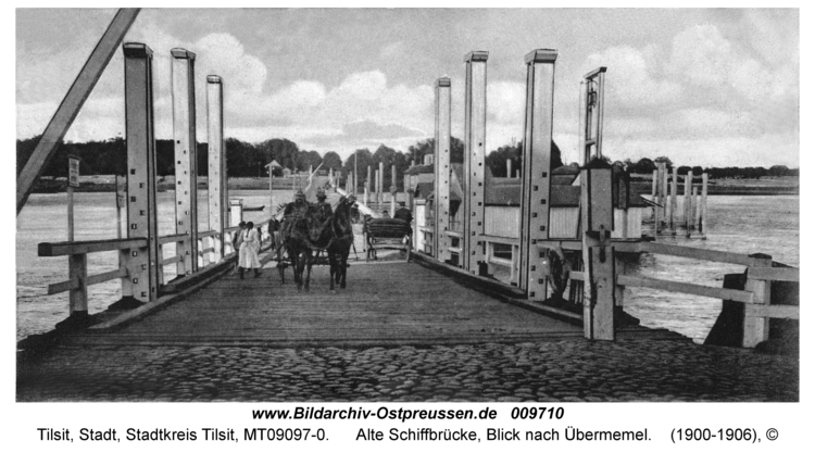 Tilsit, Alte Schiffbrücke, Blick nach Übermemel