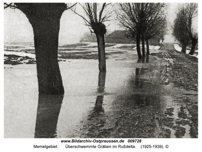 Memelgebiet, Überschwemmte Gräben im Rußdelta
