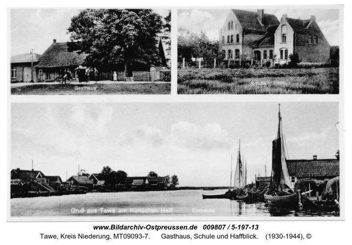 Tawe, Gasthaus, Schule und Haffblick