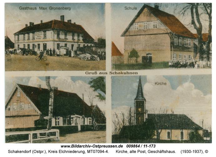 Schakendorf mit Gasthaus, Kirche, alte Post, Geschäftshaus