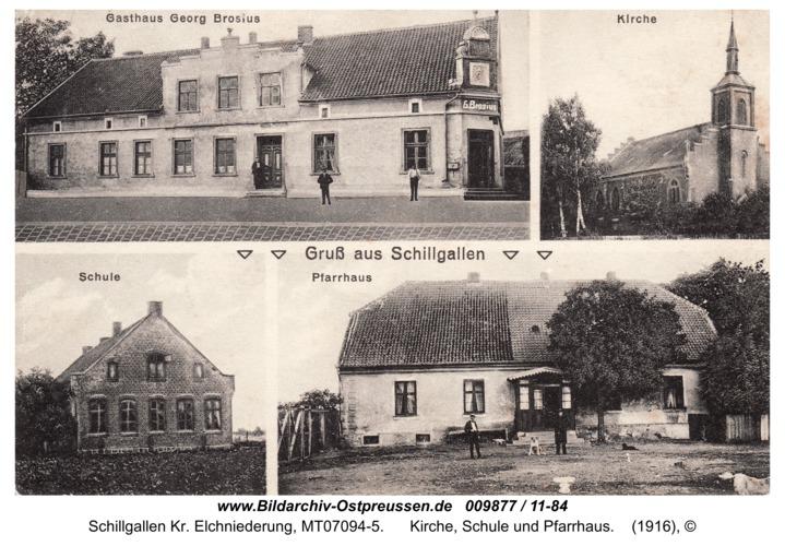 Postkarte Hochdünen mit Gasthaus Georg Brosius, Kirche, Schule und Pfarrhaus