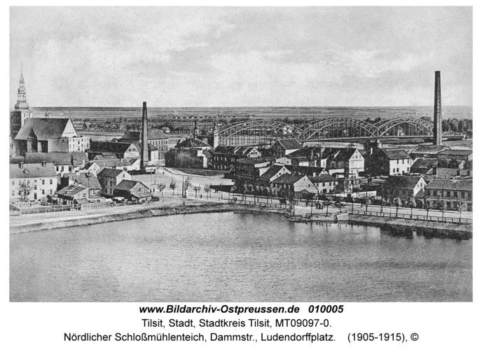 Tilsit, Nördlicher Schloßmühlenteich, Dammstr., Ludendorffplatz