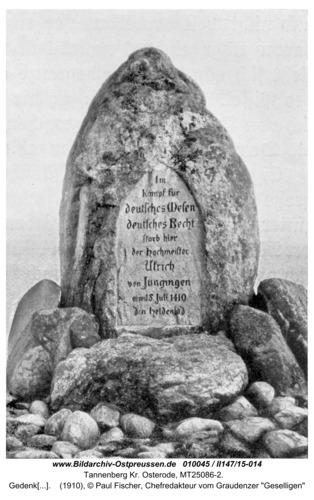 Tannenberg Kr. Osterode, Gedenkstein auf dem Schlachtfeld von 1410