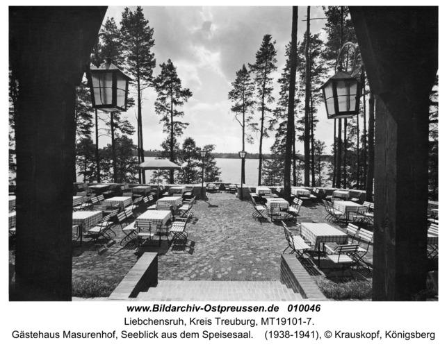 Liebchensruh, Gästehaus Masurenhof, Seeblick aus dem Speisesaal