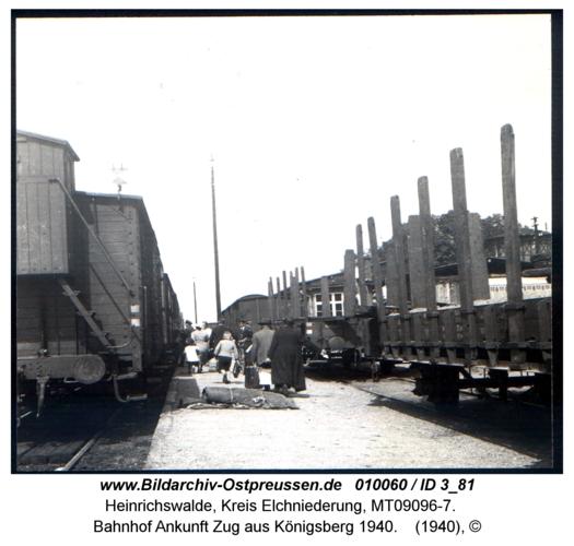 Heinrichswalde, Bahnhof Ankunft Zug aus Königsberg 1940