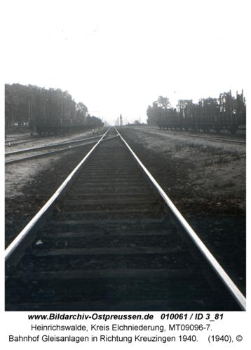 Heinrichswalde, Bahnhof Gleisanlagen in Richtung Kreuzingen 1940