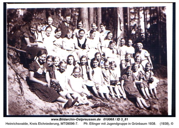 Heinrichswalde, Pfr. Ellinger mit Jugendgruppe in Grünbaum 1938