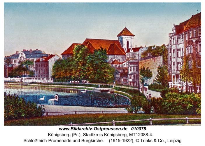 Königsberg, Schloßteich-Promenade und Burgkirche