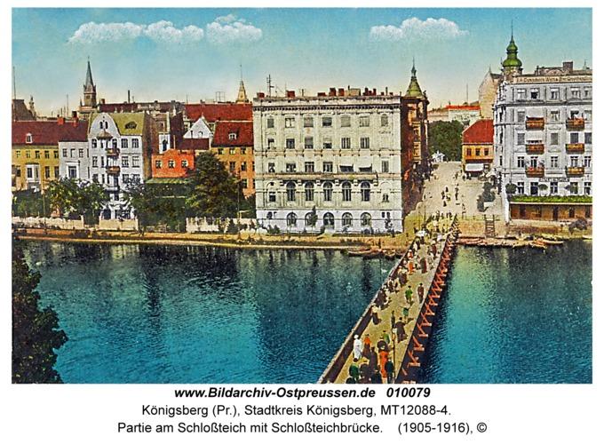 Königsberg, Partie am Schloßteich mit Schloßteichbrücke
