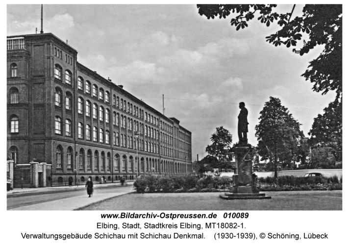Elbing, Verwaltungsgebäude Schichau mit Schichau Denkmal