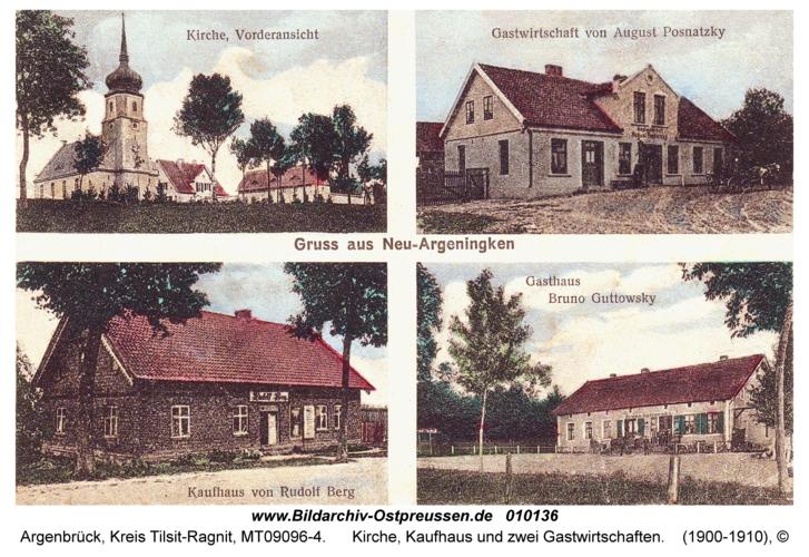 Argenbrück, Kirche, Kaufhaus und zwei Gastwirtschaften