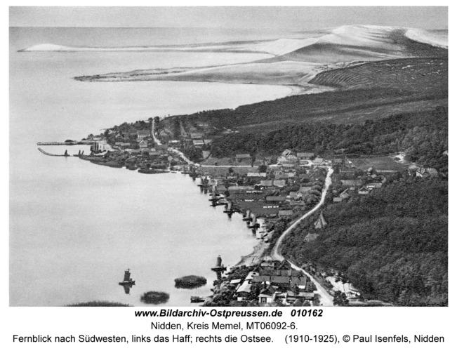 Nidden, Fernblick nach Südwesten, links das Haff; rechts die Ostsee