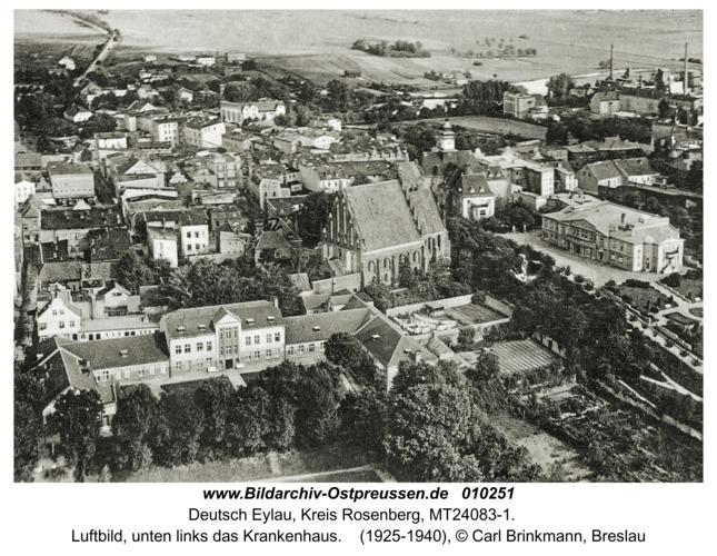 Deutsch Eylau, Luftbild, unten links das Krankenhaus