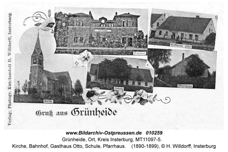 Grünheide Kr. Insterburg, Kirche, Bahnhof, Gasthaus Otto, Schule, Pfarrhaus