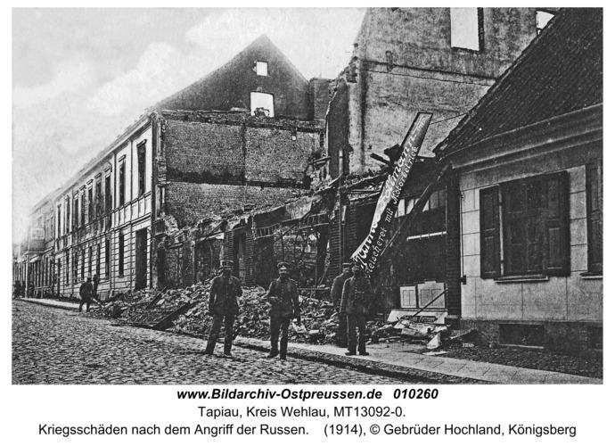 Tapiau, Kriegsschäden nach dem Angriff der Russen