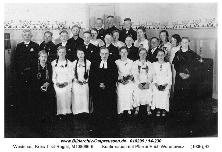 Weidenau, Konfirmation mit Pfarrer Erich Woronowicz
