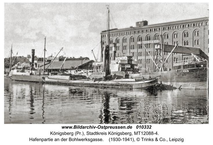 Königsberg, Hafenpartie an der Bohlwerksgasse