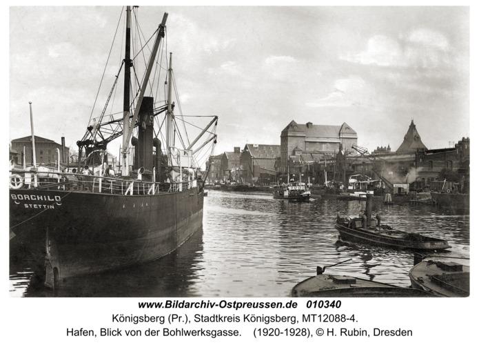 Königsberg, Hafen, Blick von der Bohlwerksgasse
