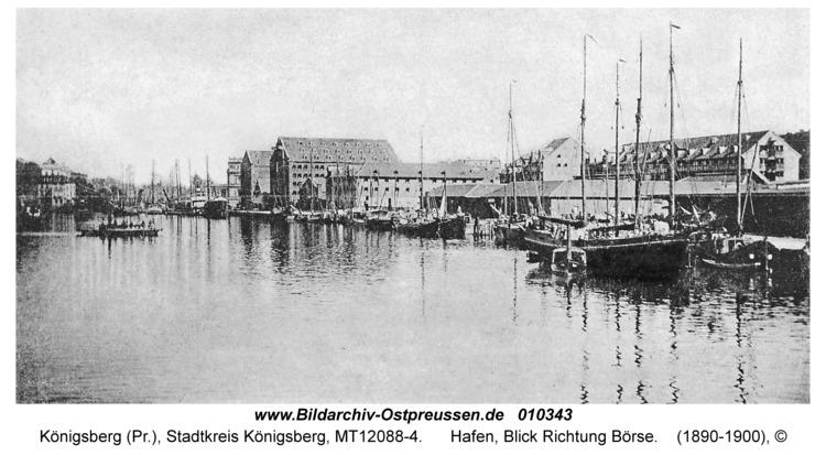 Königsberg, Hafen, Blick Richtung Börse