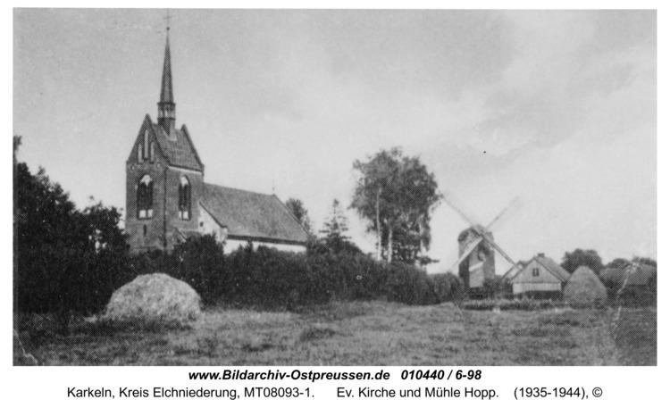 Karkeln, Ev. Kirche und Mühle Hopp