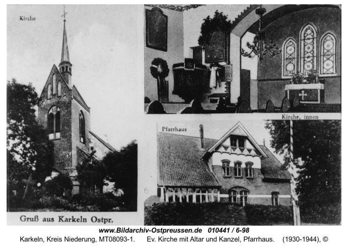 Karkeln, Ev. Kirche mit Altar und Kanzel, Pfarrhaus
