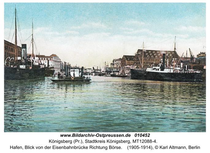 Königsberg, Hafen, Blick von der Eisenbahnbrücke Richtung Börse