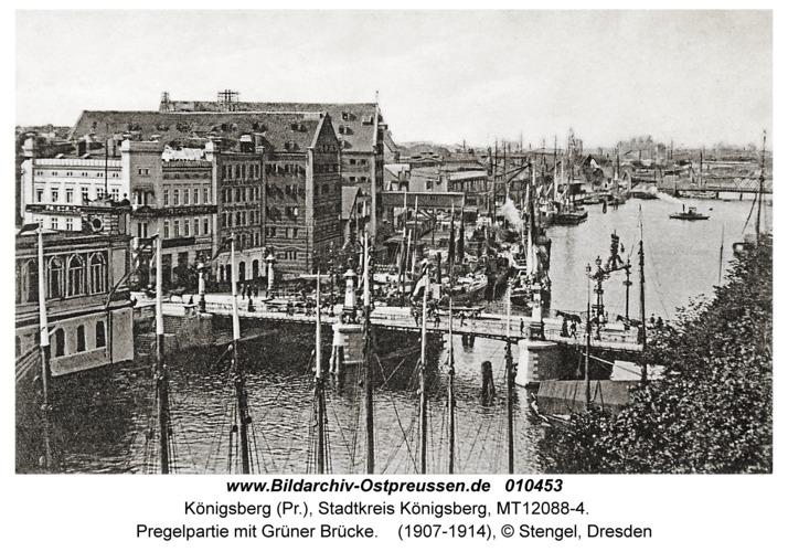 Königsberg, Pregelpartie mit Grüner Brücke