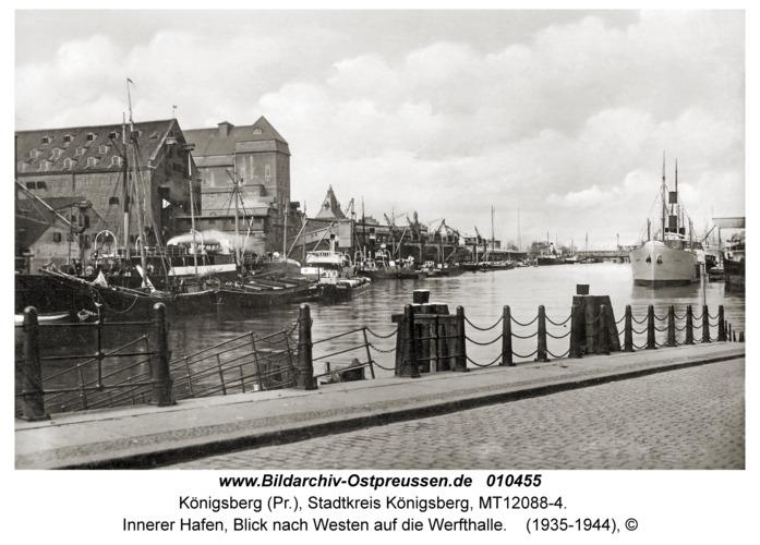 Königsberg, Innerer Hafen, Blick nach Westen auf die Werfthalle
