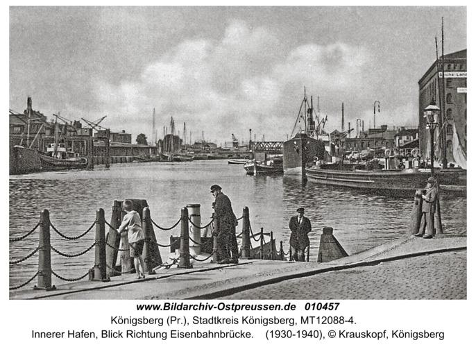 Königsberg, Innerer Hafen, Blick Richtung Eisenbahnbrücke