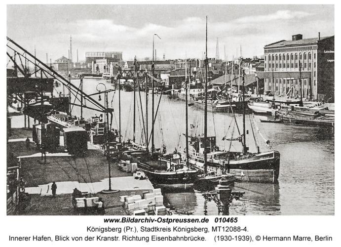 Königsberg, Innerer Hafen, Blick von der Kranstr. Richtung Eisenbahnbrücke