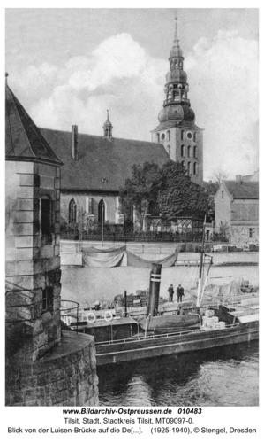 Tilsit, Blick von der Luisen-Brücke auf die Deutsche Kirche