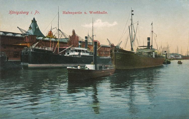 Königsberg, Hafenpartie und Werfthalle