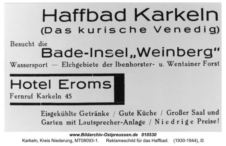 Karkeln, Reklameschild für das Haffbad