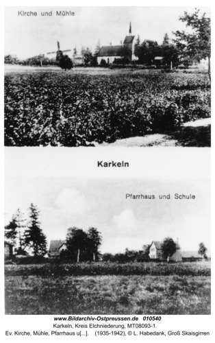 Karkeln, ev. Kirche, Mühle, Pfarrhaus und Schule