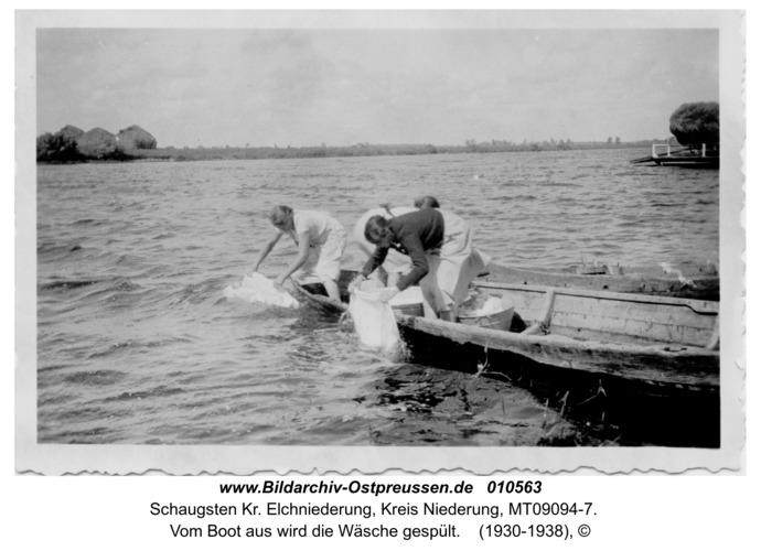 Altengilge, vom Boot aus wird die Wäsche gespült
