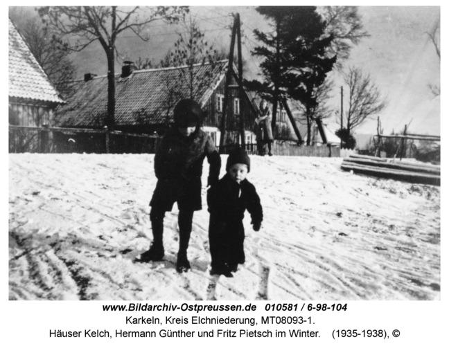 Karkeln, Häuser Kelch, Hermann Günther und Fritz Pietsch im Winter