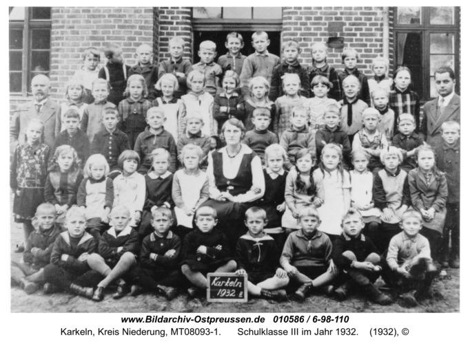 Karkeln, Schulklasse III im Jahr 1932