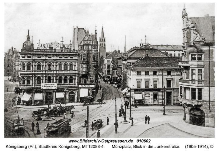 Königsberg, Münzplatz, Blick in die Junkerstraße