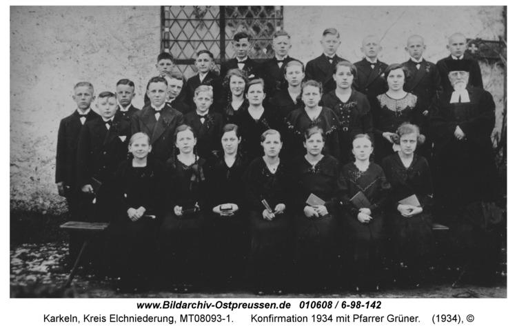 Karkeln, Konfirmation 1934 mit Pfarrer Grüner