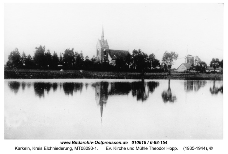 Karkeln, Ev. Kirche und Mühle Theodor Hopp