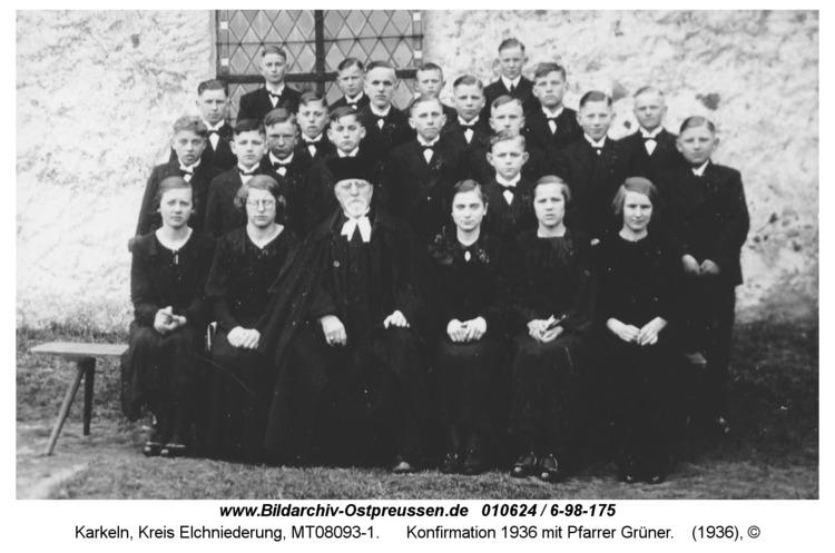 Karkeln, Konfirmation 1936 mit Pfarrer Grüner
