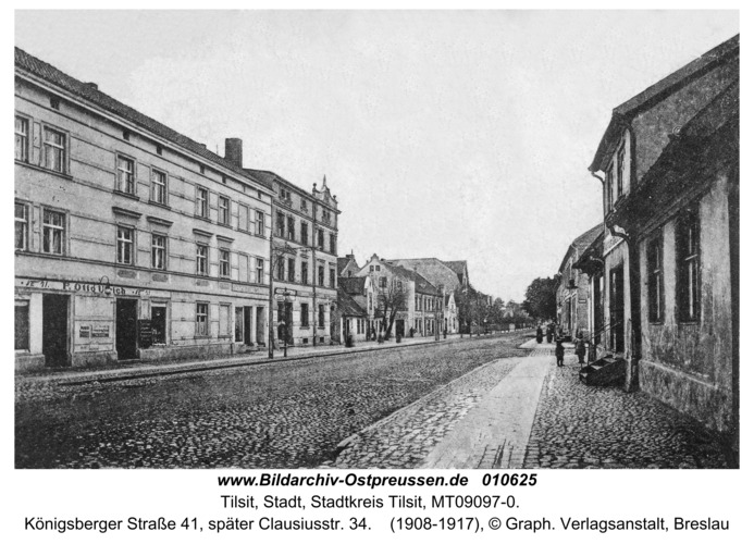Tilsit, Königsberger Straße 41, später Clausiusstr. 34