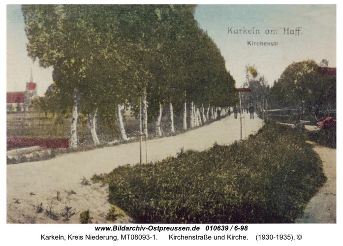 Karkeln, Kirchenstraße und Kirche