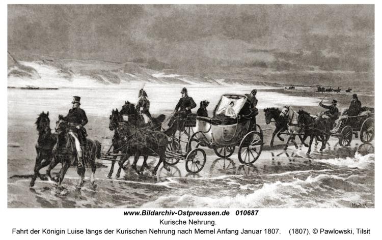 Kurische Nehrung, Fahrt der Königin Luise längs der Kurischen Nehrung nach Memel Anfang Januar 1807